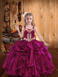 Organza Straps Sleeveless Lace Up Embroidery and Ruffles Kids Formal Wear in Fuchsia
