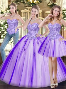 Floor Length Ball Gowns Sleeveless Lavender 15th Birthday Dress Lace Up