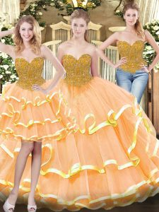 Peach Ball Gowns Sweetheart Sleeveless Tulle Floor Length Lace Up Beading and Ruffled Layers Vestidos de Quinceanera
