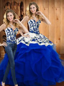 Floor Length Two Pieces Sleeveless Blue Quinceanera Dress Lace Up