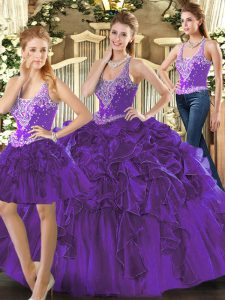 Inexpensive Beading and Ruffles Sweet 16 Dress Purple Lace Up Sleeveless Floor Length