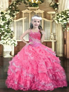 Hot Pink Little Girl Pageant Dress Party and Quinceanera with Beading and Ruffled Layers Straps Sleeveless Lace Up