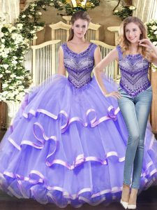 Lavender Tulle Lace Up Scoop Sleeveless Floor Length Quinceanera Gowns Beading and Ruffled Layers