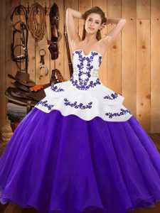 Cute Sleeveless Floor Length Embroidery Lace Up Quinceanera Gowns with Purple