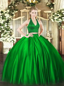 Green Two Pieces Ruching Ball Gown Prom Dress Zipper Satin Sleeveless Floor Length