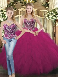 Fuchsia Quinceanera Gown Military Ball and Sweet 16 and Quinceanera with Beading and Ruffles Sweetheart Sleeveless Lace Up