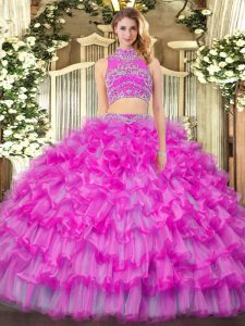 Beauteous Sleeveless Beading and Ruffled Layers Backless Ball Gown Prom Dress