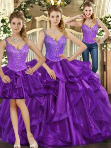 Suitable Purple Sleeveless Organza Lace Up Sweet 16 Dresses for Military Ball and Sweet 16 and Quinceanera