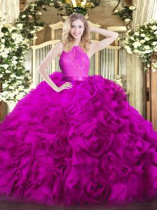 Ball Gowns 15th Birthday Dress Fuchsia Scoop Fabric With Rolling Flowers Sleeveless Floor Length Zipper