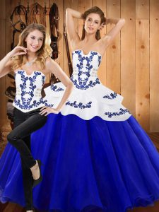 Super Floor Length Royal Blue Quinceanera Gowns Tulle Sleeveless Embroidery