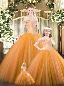Orange Ball Gowns Tulle Off The Shoulder Sleeveless Beading Floor Length Lace Up Quinceanera Dresses