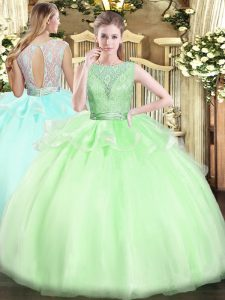 Superior Sleeveless Organza Backless Sweet 16 Quinceanera Dress for Military Ball and Sweet 16 and Quinceanera