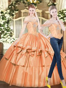 Beading and Ruffled Layers Quinceanera Gowns Orange Red Lace Up Sleeveless Floor Length