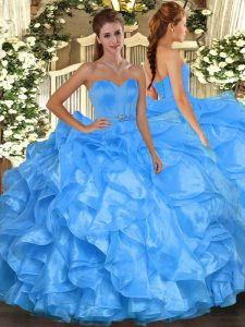 Baby Blue Sweetheart Lace Up Beading and Ruffles Quince Ball Gowns Sleeveless