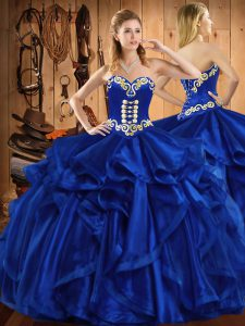 Royal Blue Sweetheart Neckline Embroidery and Ruffles 15 Quinceanera Dress Sleeveless Lace Up