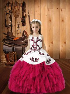 Sweet Sleeveless Organza Floor Length Lace Up Little Girls Pageant Dress in Fuchsia with Embroidery and Ruffles