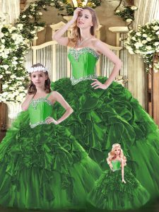 Beauteous Organza Sweetheart Sleeveless Lace Up Beading and Ruffles Quinceanera Dress in Green
