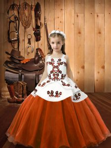 Orange Red Straps Neckline Embroidery Pageant Dress for Teens Sleeveless Lace Up