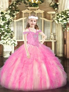 Rose Pink Sleeveless Organza Lace Up Little Girl Pageant Dress for Party and Quinceanera