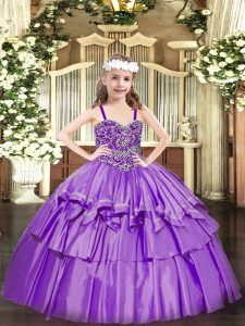 Lavender Ball Gowns Beading and Ruffled Layers Kids Pageant Dress Lace Up Organza Sleeveless Floor Length