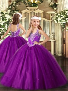 Purple Lace Up V-neck Beading Little Girls Pageant Dress Tulle Sleeveless
