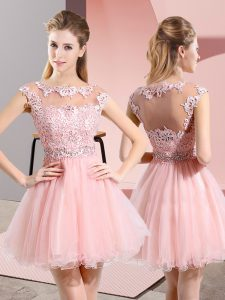 Scoop Sleeveless Side Zipper Quinceanera Court Dresses Baby Pink Tulle
