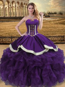 Purple Ball Gowns Organza Sweetheart Sleeveless Beading and Ruffles Floor Length Lace Up Ball Gown Prom Dress