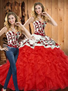 Dynamic Red Sleeveless Tulle Lace Up Sweet 16 Dresses for Military Ball and Sweet 16 and Quinceanera