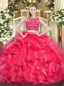 Floor Length Red 15 Quinceanera Dress Scoop Sleeveless Zipper