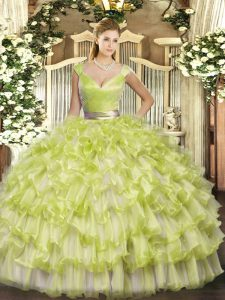 V-neck Sleeveless 15 Quinceanera Dress Floor Length Ruffled Layers Yellow Green Organza