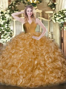 Sleeveless Floor Length Ruffles Zipper Quinceanera Gowns with Brown
