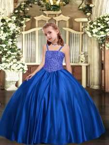 Attractive Floor Length Ball Gowns Sleeveless Royal Blue Child Pageant Dress Lace Up