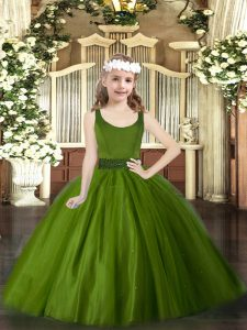 Olive Green Tulle Zipper Scoop Sleeveless Floor Length Pageant Gowns For Girls Beading