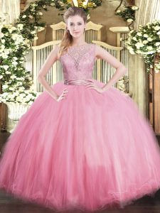 Scoop Sleeveless Backless Sweet 16 Dress Baby Pink Tulle