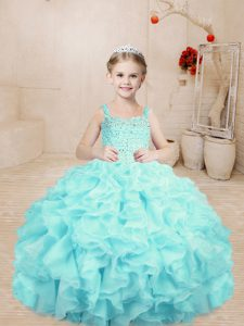 Cute Aqua Blue Organza Lace Up Girls Pageant Dresses Sleeveless Floor Length Beading and Ruffles