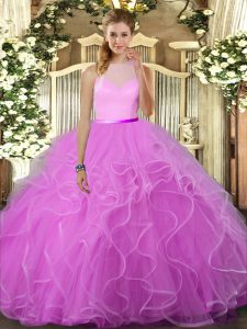 Beautiful High-neck Sleeveless Backless Sweet 16 Dresses Lilac Tulle