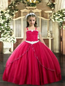Nice Coral Red Ball Gowns Appliques Kids Pageant Dress Lace Up Tulle Sleeveless