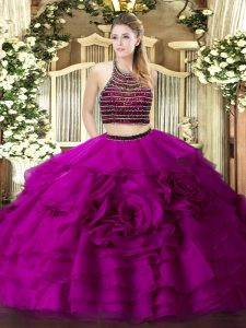 Excellent Fuchsia Two Pieces Halter Top Sleeveless Tulle Floor Length Zipper Beading and Ruffled Layers Quinceanera Gowns