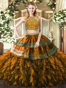 Stunning Floor Length Zipper Sweet 16 Quinceanera Dress Brown for Military Ball and Sweet 16 and Quinceanera with Beading and Ruffles