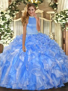 Floor Length Ball Gowns Sleeveless Baby Blue Sweet 16 Dresses Backless