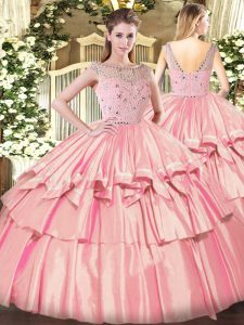 Glamorous Rose Pink Sleeveless Beading and Ruffled Layers Floor Length Ball Gown Prom Dress