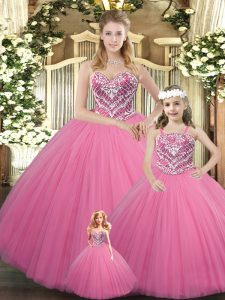 Custom Fit Rose Pink Ball Gowns Beading Quinceanera Dress Lace Up Tulle Sleeveless Floor Length