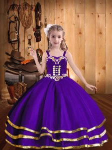Eggplant Purple Organza Lace Up Little Girl Pageant Gowns Sleeveless Floor Length Beading and Ruffled Layers