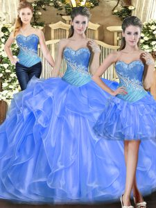 Pretty Baby Blue Sleeveless Tulle Lace Up Vestidos de Quinceanera for Military Ball and Sweet 16 and Quinceanera