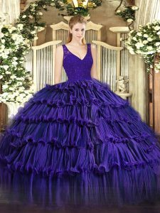Purple Sleeveless Organza Zipper Quinceanera Dress for Sweet 16 and Quinceanera