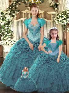 Teal Tulle Lace Up Sweet 16 Dress Sleeveless Floor Length Beading and Ruffles