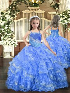 Organza Straps Sleeveless Lace Up Beading and Ruffled Layers Child Pageant Dress in Baby Blue