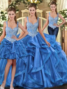 Blue Ball Gowns Straps Sleeveless Tulle Floor Length Lace Up Beading and Ruffles Quinceanera Dress