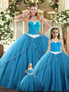 Teal Tulle Lace Up Sweetheart Sleeveless Floor Length Quinceanera Gowns Ruching