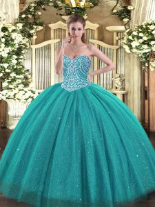 Turquoise Sweetheart Lace Up Beading Quince Ball Gowns Sleeveless